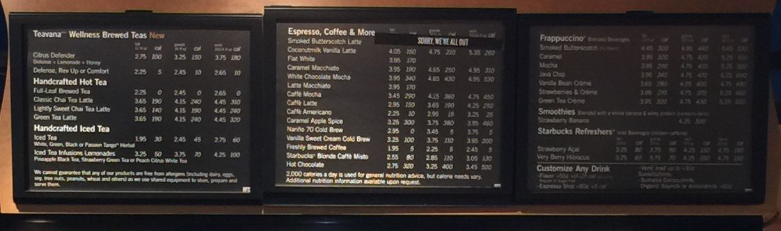 starbucks menu sizes