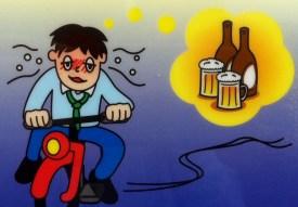 1 drunk biking beer man