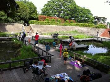 Tamagawadai Park fish pond area
