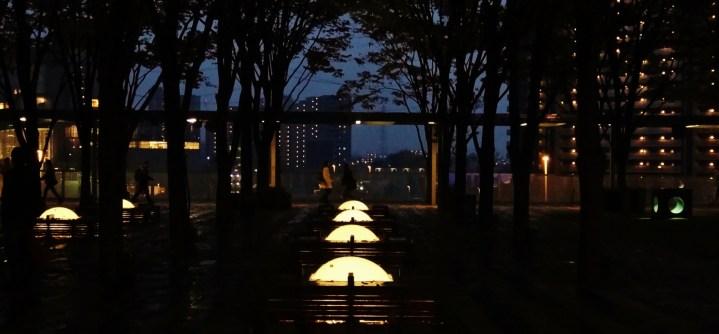 A late dusk scene from the Keyaki Hiroba plaza, aka Saitama Sky Forest.