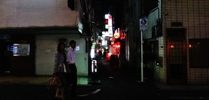 shimbashi couple walking night
