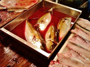 Tsukiji fish market blood