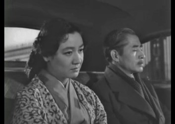 """Somber car scene from """"Sound of the Mountain"""" (1954), with Setsuko Hara."""