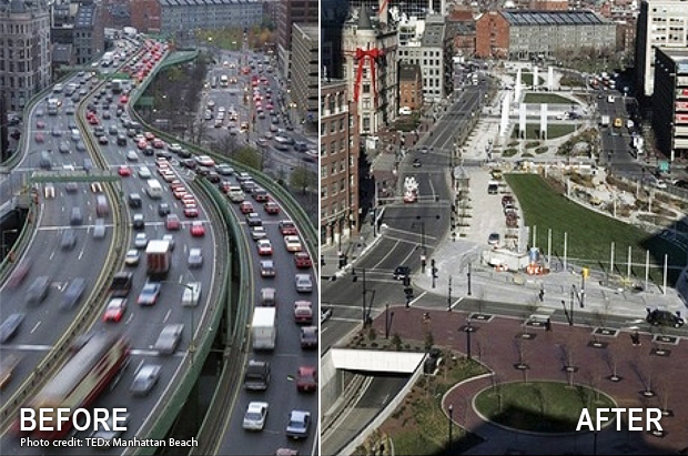 Boston Big Dig before & after photo highway