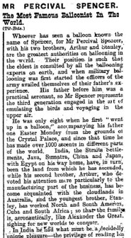 Percival Spencer obituary 1913
