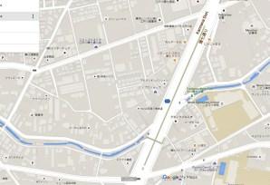 A walking path with water in Edogawa, Tokyo: the in Furukawa green road.