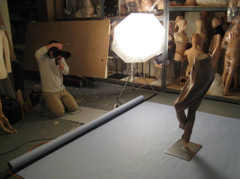 Dan photographing khaki pants
