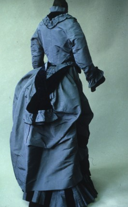 Blue silk taffeta walking dress, American ca. 1873-4, KSUM 1983.1.126 ab