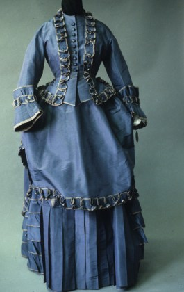 Blue silk taffeta walking dress, French ca. 1873-4, KSUM 1983.1.127 a-c