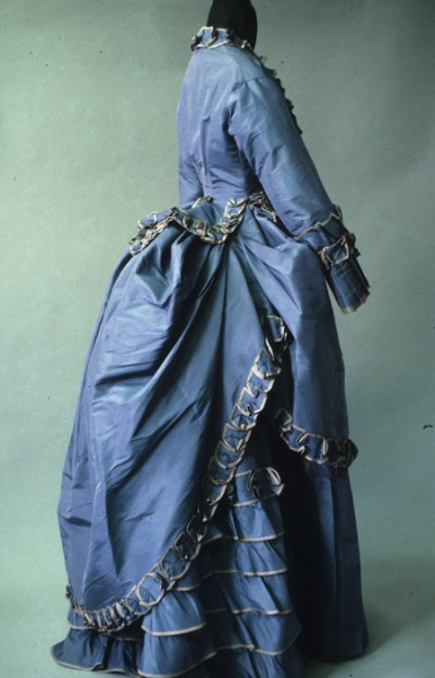 Blue silk taffeta walking dress, French ca. 1873-4, KSUM 1983.1.127a-c