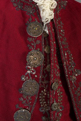 Detail of buttons on coat and waistcoat, KSUM 1995.17.174 a-c.