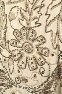 Detail of beading on evening dress of cream satin and chiffon, American, late 1920s, KSUM 1983.1.341.