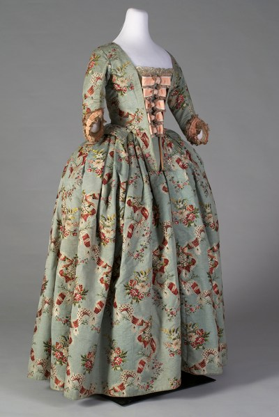 Silk brocade skirt and bodice, ca. 1765 with reproduction stomacher