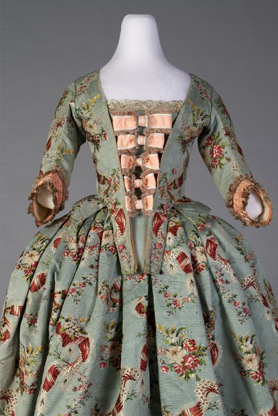 Silk brocade skirt and bodice, ca. 1765 shown with reproduction stomacher.