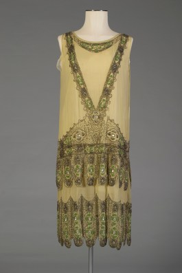 Green silk chiffon dress with beading, KSUM 1996.58.343