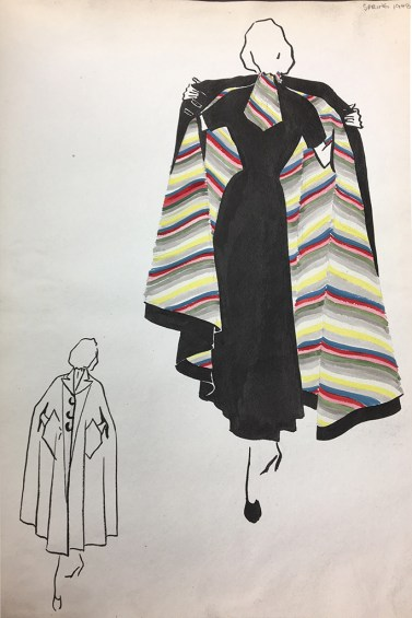 Sketch of Pauline Trigère design, Spring 1948. Courtesy of the June F. Mohler Fashion Library.