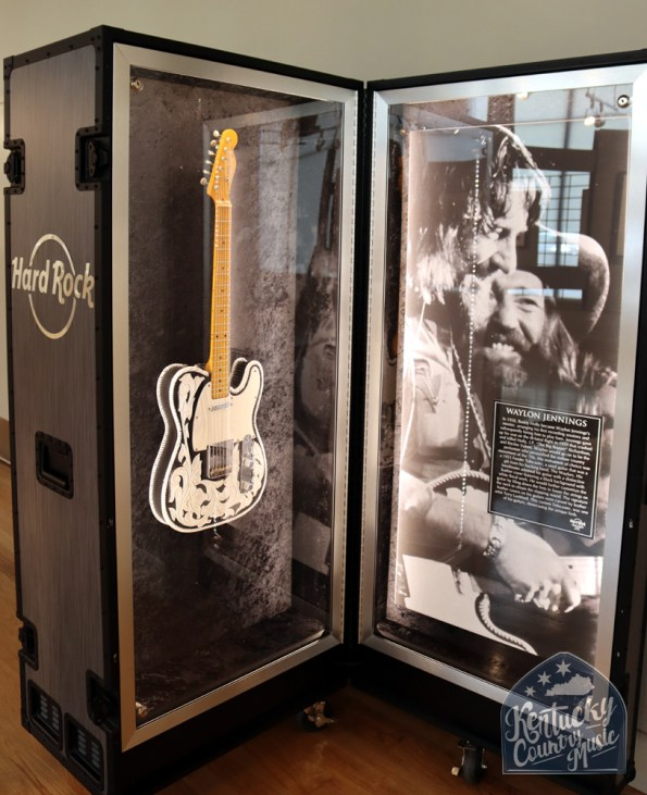 Exhibit space featuring artifacts like Waylon Jennings Fender Telecaster guitar at the Birthplace of Country Music Museum. Photo by Jessica Blankenship.