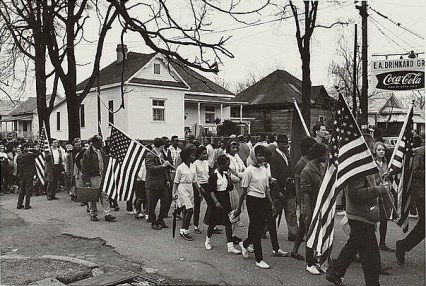 Participants marching in the civil rights march from Selma to Montgomery, Alabama