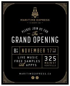 """""""Maritime Express Cider"""" ~ Grand Opening Nov. 17th"""