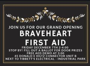 Brave Heart First Aid ~ Grand Opening