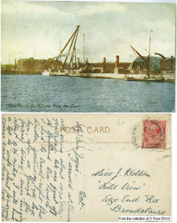 55IOS - Sheerness Docks from the Pier (Front & Back of Postcard)