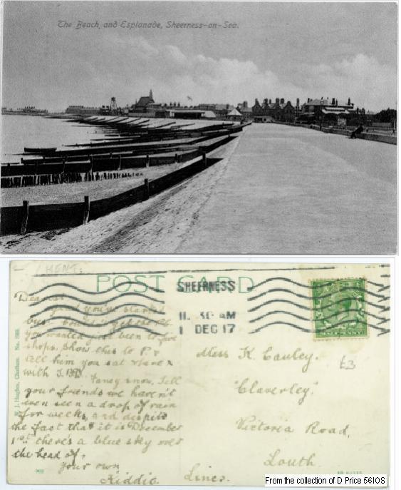 56IOS - Sheerness Esplanade (Front & Back of Postcard)