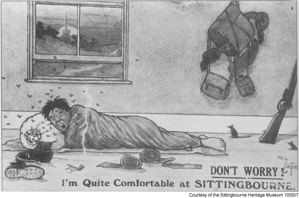 """100SIT - Postcard – """"Don't worry, I'm quite comfortable at SITTINGBOURNE"""""""