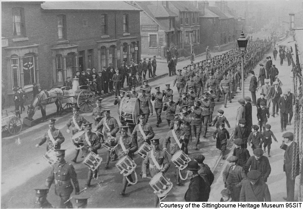 95SIT - Troops marching in West Street, Sittingbourne