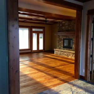Montana wood beam finishes and rustic design