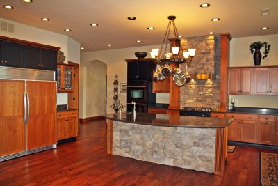 Bozeman Montana custom home kitchen double wood paneled fridge
