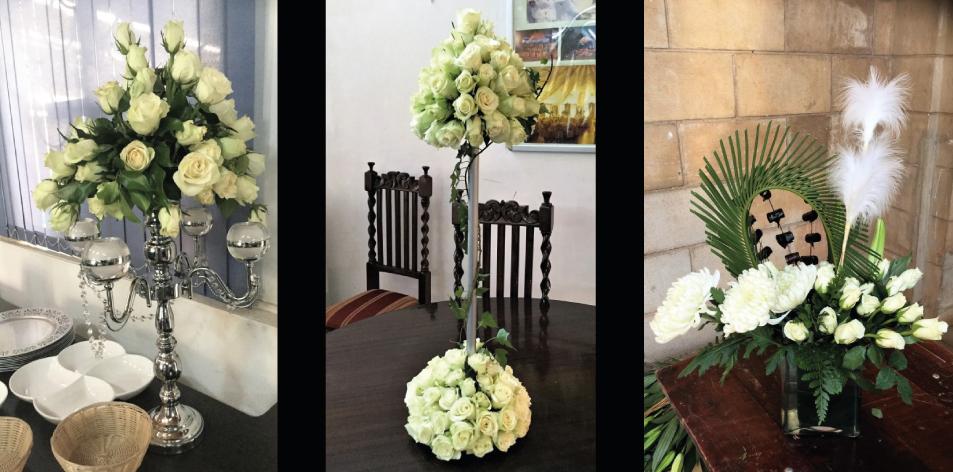 White Floral Centrepieces - By J.K. Florists