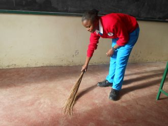 Students keep classrooms clean