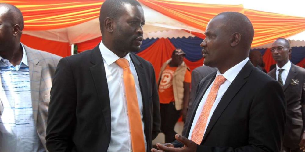ODM Secretary-General Edwin Sifuna (left) and chairman John Mbadi at a past function. Sifuna says Ruto should resign and let Uhuru work in peace
