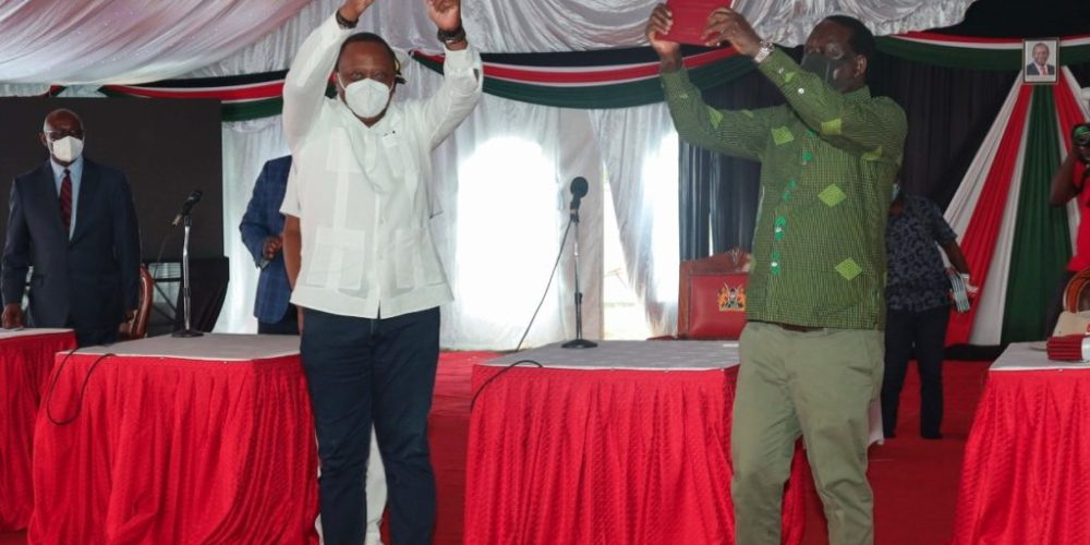 Raila and Uhuru during BBI unveiling in Kisii