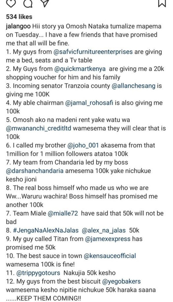 Omosh Now Has A Reason To Smile After Jalang'o Listed All The Well-Wishers Who Came To His Aid Including Joho And City Fraudster Allan Chesang