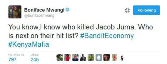 Boniface Mwangi knows who killed JACOB JUMA in cold blood