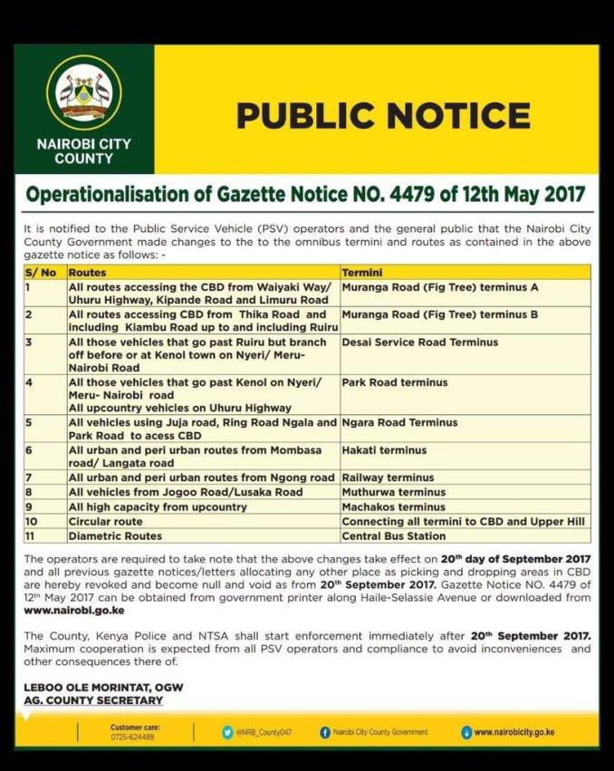 Nairobi Matatu CBD Ban, Nairobi Matatu routes