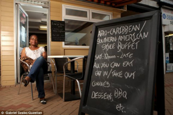 The single mother-of-three serves a mixture of British, African and Caribbean food at her cafe in Ossett, West Yorkshire