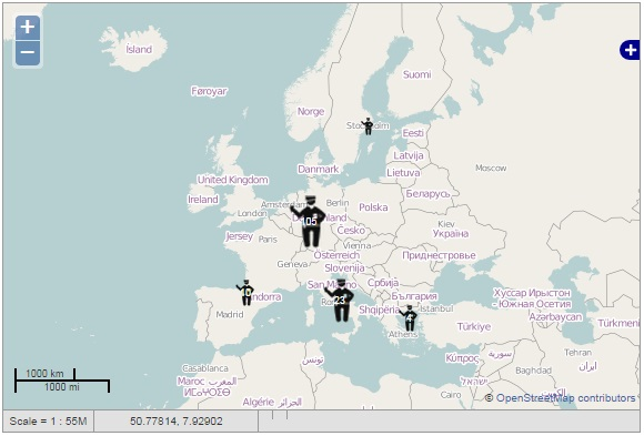 Ushahidi map showing migrant check incidents EU-wide