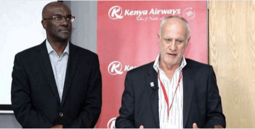 Kenya Airways Chairman with the outgoing CEO Mbuvi Ngunze