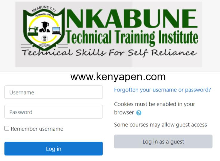 Nkabune Technical Training Institute E-Learning Portal Login