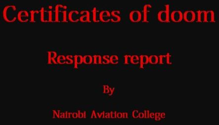 Nairobi Aviation College Dennis Okari Certificates of Doom