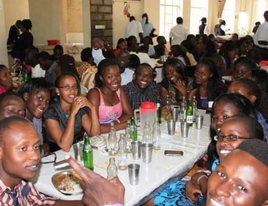 Kabarak university students enjoy a sumptuous lunch provided by Former Daniel Arap Moi