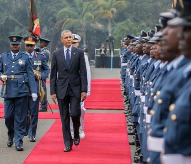 Obama inspecting a guard oh honor in Kenya