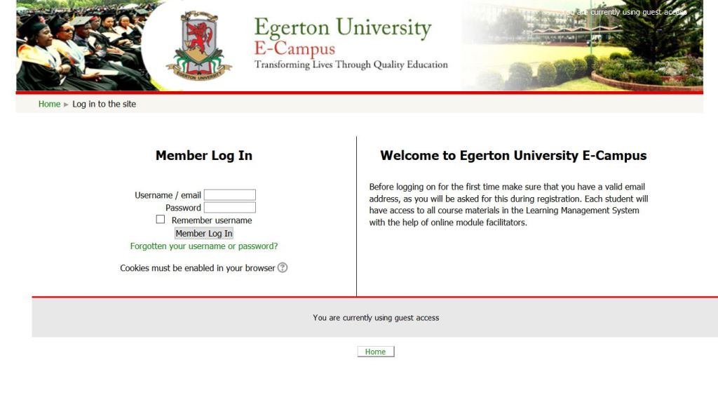 Egerton university e-campus and e-learning portal user guide
