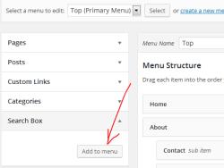 Search box into menu