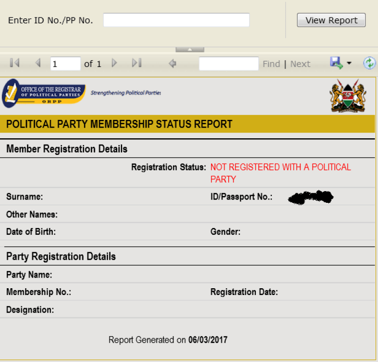 check politcal party membership resgistration status