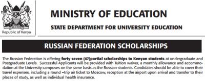 russian scholarships to kenyan students undergraduate