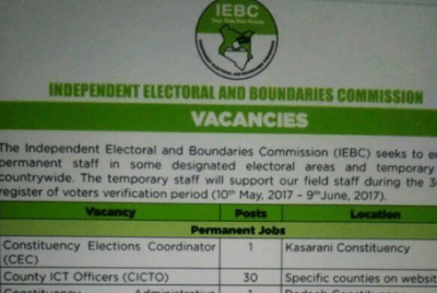 iebc 2017 april jobs for august elections