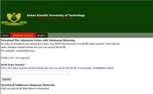 Dedan Kimathi University admission letters for kuccps